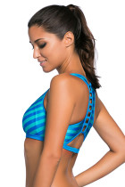 Blue Stripe Patten Sport Svømning Bra