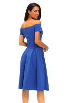 Katı Mavi Kalın Flare Midi Vintage Elbise
