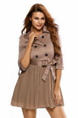 Moda British Style Patchwork Îmbrăcăminte Lady Coat Dress
