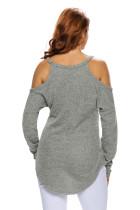 Abu-abu Bahu Dingin Merajut Sweater Lengan Panjang