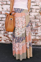 Orange Boho Print Tie-Up pas dlouhý Maxi sukně
