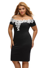 Lace Crochet Off Shoulder Black Plus Størrelse Pencil Dress
