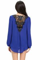 Elegant albastru croșetat înapoi brodat față bluză