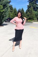 Solid Sort High-waisted Bodycon Maxi Skirt