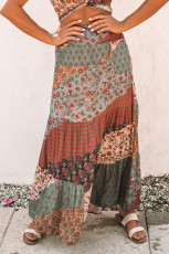 Flerfarvet Boho Print Tie-Up Talje Lang Maxi nederdel