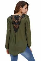 Snygg Army Green Crochet Back Wrap Front Blouse