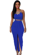 Royal Blue Cotton tweedelig Maxi rokenset
