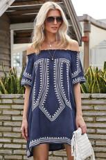 Bohemian Vibe geometrische print Off The Shoulder Beach-jurk