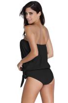 Costume da bagno Tankini nero 2pcs a fascia