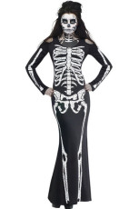 Long Skeleton Dress Adult Traje de Halloween