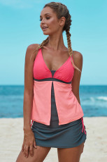 Pomarańczowy Pink Colorblock Tankini Skort Bottom Swimsuit