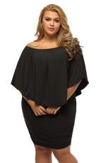 Plus Size Multiple Dressing Réteges fekete mini poncsó ruha