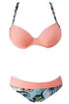 Sexet rosa polstret samle push-up bikini sæt