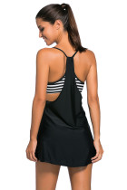 Black Flowing Swim Dress Layered 1pc Tankini Top