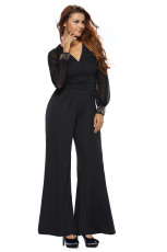 Black Embellished Cuffs Long Sleeves Sleeves Jumpsuit