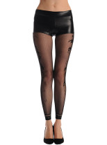 Black Fishnet Floral Opaque Footless Tights Pantyhose
