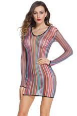 Stripe Fishnet košile šaty