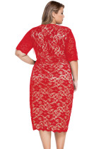 Red Plus velikosti V-Neck Half Sleeve Lace Midi šaty