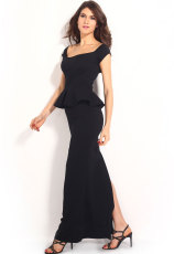Black Peplum Maxi Dress Dengan Drop shoulder