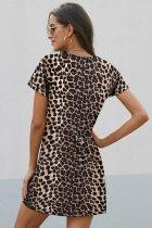 Leopard Print Kortärmad Sidoknopp T-shirt klänning