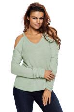 Cahaya Hijau Bahu Dingin Merajut Sweater Lengan Panjang