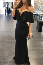 Black Ruffle Off umăr Maxi Party rochie