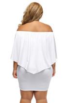 Plus Ukuran Beberapa Dressing Layered White Mini Poncho Dress
