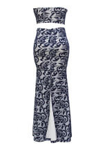 Blue Bandeauペイズリープリントヌードライニングスカートセット