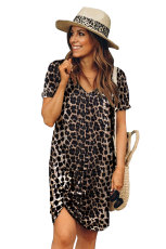 T-shirtjurk met korte mouwen en luipaardprint
