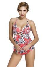 طباعة الأزهار المحمر الرجعية عالية الخصر 2 قطعة ملابس السباحة