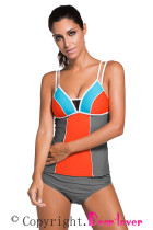 Lace Splice Color Block with Grey Brief 2pcs Tankini Swimsuit