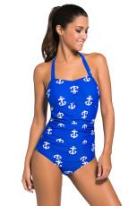 Vintage Inspirat 1950s Style Blue Anchor Teddy costum de baie