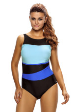 Chic Color Block Accent Hollow-Out One Piece Baddräkt