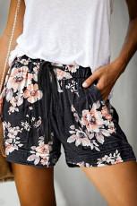 Zwarte bloemenprint trekkoord Casual elastische taille broek met zakken