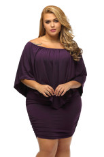 Plus Size Multiple Dressing Layered Lilla Mini Poncho Dress