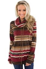 빨간색 여러 가지 빛깔의 큰 머리 넥 스트 라이프 긴 소매 스웨터