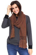 Brown Cosy Chunky Knit Tassel Sjaal