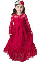 Kırmızı Çiçekli Dantel Çiçek Kız Maxi Elbise