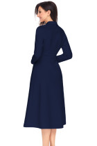 Gaun Vintage Navy Button Collared Fit-and-flare