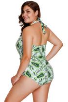 ورقة خضراء طباعة Halterneck ملابس السباحة قطعة واحدة
