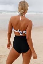 흰색 폴카 도트 블랙 레트로 Boho Flounce 높은 허리 수영복