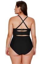 سیاه Strappy گردن جزئیات شنا لباس بالا کمر
