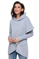 Sudadera con capucha de manga larga estilo tulipán gris abrigo