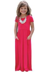 เดรสแขนยาวสีชมพูออกแบบสาว Maxi Dress