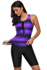 Costume da bagno Tankini nero con stampa Ombre Purple Purple