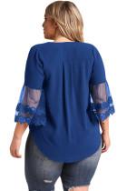 Marineblauw Geborduurde mouwloze blouse met tule en tule
