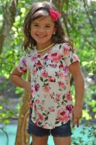 T-shirt met korte mouwen, wit roze bloemenprint voor meisjes