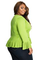 Green Ruffle Hem V Neck Cardigan Plus Ukuran