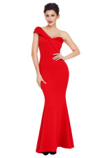 Rød Sexy One Shoulder Ponti Gown