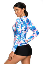 Blå Pink Tropical Leaf Zipped Rashguard Top